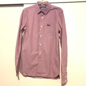 Superdry S&D Button Down Checkered Purple Shirt LG